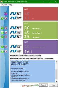 ASoft .NET Version Detector 15 R3  ASoft .NET Version Detector--起動時の画面--オールフリーソフト