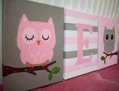 Owls Nursery Wall Decor Pink and Gray Grey Canvas Paintings / Girl Nursery Bedroom Decor / Owl Wall Hanging Kids Art / Baby Girl Baby Girl Nursery Pink And Grey, Baby Girl Nursery Themes, Girl Nurseries, Girl Owl Nursery, Nursery Ideas, Owl Themed Nursery, Neutral Nurseries, Elephant Nursery, Nursery Neutral