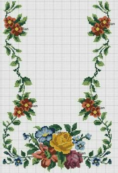 Such a beautiful floral border Cross Stitch Heart, Cross Stitch Flowers, Cross Stitching, Cross Stitch Embroidery, Cross Stitch Designs, Cross Stitch Patterns, Free To Use Images, Vintage Cross Stitches, Flower Coloring Pages