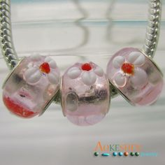 $1.39  Flower Pink Lampwork Murano European Style Glass Beads Spacer http://www.eozy.com/flower-pink-lampwork-murano-european-style-glass-beads-spacer