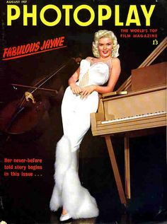 Jayne Mansfield on the cover of Photoplay magazine, August 1957, UK.