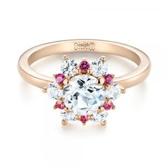 Custom White and Pink Sapphire Halo Engagement Ring   Joseph Jewelry   Bellevue   Seattle   Designers of Fine Custom Jewelry