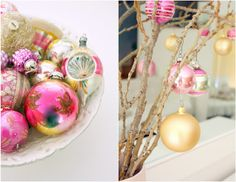 Christmas pink and gold with a DIY branch tree