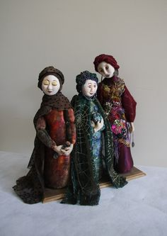 Three Wise Women : Cloth art dolls, with cloth /clay faces. Wilma Simmons - Empress Wu Designs. I made these in 2005 - the beginning of my  art doll experiences.