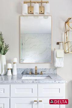 Luxe + Glam Home Interior Design by Pizzigati Designs Widespread Bathroom Faucet, Bathroom Faucets, Vanity Faucets, Bathroom Interior Design, Interior Design Services, Modern Bathroom, Master Bathroom, Beautiful Bathrooms, Delta Design