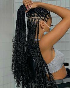 Box Braids Hairstyles For Black Women, Braids Hairstyles Pictures, Braided Hairstyles For Black Women, African Braids Hairstyles, Baddie Hairstyles, Braids For Black Hair, Girl Hairstyles, Braids With Curls Hairstyles, Black Girls With Braids