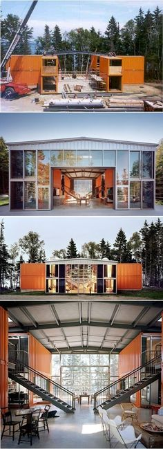 Container House - Shipping Container Homes That Will Blow Your Mind – 15 Pics Who Else Wants Simple Step-By-Step Plans To Design And Build A Container Home From Scratch? Not exactly tiny- but cool anyway! Container Home Designs, Storage Container Homes, Shipping Container Homes, Shipping Containers, Container Cabin, Shipping Container Buildings, Cargo Container Homes, Container Store, Building A Container Home