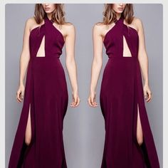 STYLESTALKER ZERO HOUR HALTER MAXI DRESS NWT Size US 2 NWT sold out at lulus.                   Start the night right w/ the Style Stalker Zero Hour Burgundy Maxi Dress, W/ rich plum purple undertones, this woven poly dress has a sexy deep V-bodice (with no-slip strips @ back) supported by an elegant neck strap (plus button closures) w/enough length to wrap around the neck for a chic stmt. two front slits to show off some leg. Hidden back zipper/clasp. Fully lined. Self: 96% Polyester, 4%…