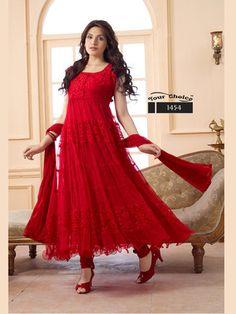 Designer Red Hot Long Anarkali Suit Anarkalis on Shimply.com