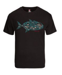 Tribal Fish Tee-Black