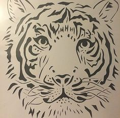 Midnight Craft Cafe- tiger black and white papercut art craft.