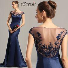 eDressit Cap Sleeves Navy Blue Embroidered Evening Dress Formal Dress