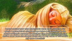 """I never noticed how cute Rapunzel is when she's sleeping. For about 1 second she's shown asleep before being awoken by the sound of Flynn's screams as Maximus tries to take him away. She smiles even. Funny Disney Jokes, Disney Memes, Disney Quotes, Best Disney Movies, Disney Stuff, Kid Movies, Tangled Funny, Tangled Quotes, Tangled Movie"