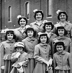 In the Spring of 1952 Life Magazine sent photographer Nina Leen to Jamaica Plain to photograph our family preparing for Easter. The above picture was taken outside Blessed Sacrament Church in a preview shot of us in our new outfits – warm gray sharkskin wool jackets with peplum and flared skirts.