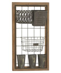 The DecMode Metal and Wood Wall Storage brings rustic charm to the art of organization. Featuring a natural wood frame, the assorted metal baskets. Metal Baskets, Baskets On Wall, Wood And Metal, Metal Walls, Metal Grid, Black Metal, Farmhouse Magazine Racks, Superior Walls, Wall Basket Storage