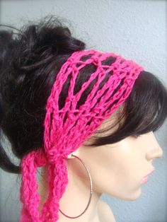 Fuchsia Hand Crochet Hair Band Scarf