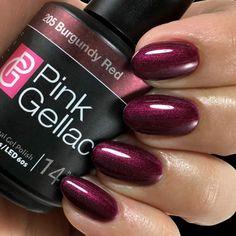 Red gel polish and varnish colors - pink gellac gel nail polish Red Gel Nails, Gel Nails At Home, Almond Acrylic Nails, Burgundy Nails, Burgundy Color, Almond Nails, Dark Purple, Gel Polish Colors, Gel Nail Polish