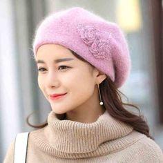 Fashion flower rabbit Fur beret hat for women warm knit hats winter wear