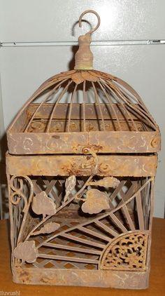 Primitive Rustic Decorative Hanging Metal Bird Cage w/ Hinged Lid Top Birdcage