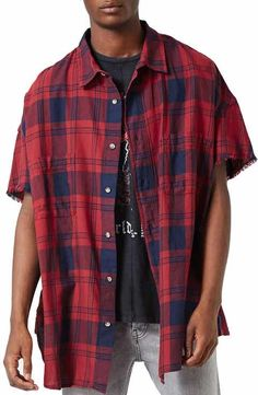 Topman Cutoff Sleeves Check Shirt