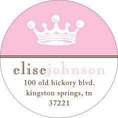 Pink Crown Round Address Labels