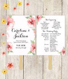 Wedding Program Fan Printable / Wedding Fan / The CAROLINE / Pink Watercolor Flower Frame, Black Calligraphy / Printable Fan ▷ Printable PDF