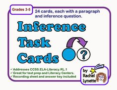 Many reading skill task cards. Inference is such a tricky skill to master, but these 24 cards can help! Use them orally in small groups, or individually as a writing assignment . Reading Strategies, Reading Skills, Reading Comprehension, Reading Resources, Small Group Reading, Text Dependent Questions, Writing Assignments, Common Core Reading, 3rd Grade Reading