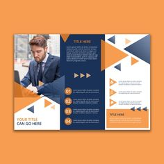 Trifold geometric business brochure template Free Psd Easy-to-use template file with layers to get a quick start to your design. Brochure Cover Design, Free Brochure, Graphic Design Brochure, Creative Brochure, Leaflet Template, Indesign Templates, Brochure Template, Flyer Design, Web Design