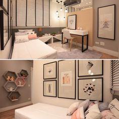 """495 curtidas, 12 comentários - Architect & Interior Designer (@thaisabohrer) no Instagram: """"Mais um ângulo do quarto de menina que postei mais cedo!  As portas do armário em espelho dão…"""""""