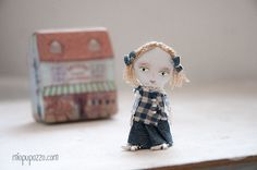 Miniature Girl and her Tiny House Art Doll Brooch by miopupazzo