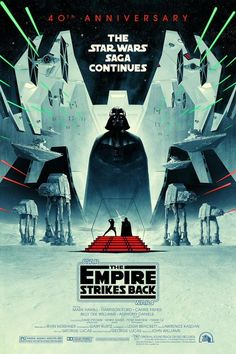 Officially licensed LucasFilm Anniversary art poster commemorating the release of Star Wars: The Empire Strikes Back, created by artist Matt Ferguson Star Wars Film, Star Wars Poster, Star Wars Art, Star Trek, Starwars, Mark Hamill, Boba Fett, Harison Ford, Cinema