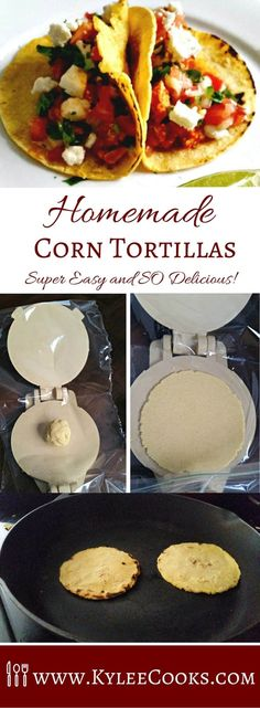 Homemade Corn Tortillas is an easy way to add more homemade deliciousness to taco night with your very own hot-off-the-pan corn tortillas! Corn Flour Tortillas, Recipes With Flour Tortillas, Fresh Tortillas, Homemade Flour Tortillas, Making Corn Tortillas, Easy Tortilla Recipe, Corn Tortilla Recipes, Mexican Tortilla Recipe, Pastries