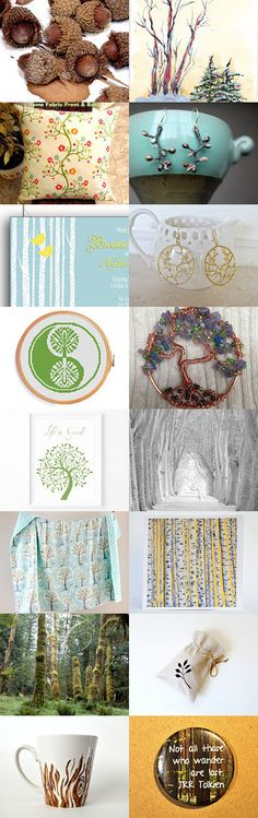 """A Tree-Hugger Treasury by Vikki Pike on Etsy--Pinned with TreasuryPin.com... with my """"Aspen Trees"""" note cards in the upper right!"""