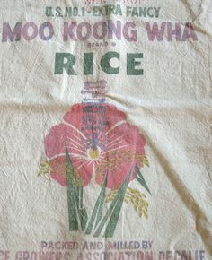 Vintage Rice Seed Feed Sack Bag Sack With Flower by kccaseyfinds, $10.95