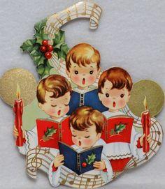 572 50s Unused w enV Singing Choir Boys Vintage Diecut Christmas Card Greeting   eBay