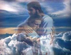 Jesus Christ in the clouds hugging a person to comfort them. Prophetic art.