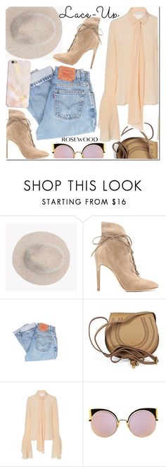 """""""Lace It Up"""" by rosewoodcases ❤ liked on Polyvore featuring Gianvito Rossi, Levi's, Chloé, Nellie Partow and Fendi"""