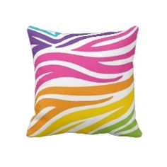 Colorful Rainbow Zebra Print Pattern Gifts Pillows