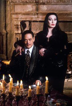 "Raul Julia and Anjelica Huston in ""The Addams Family""."