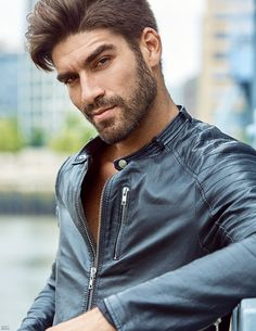 ea2a1f7b1fb8 Nick Bateman, Leather Men, Leather Jackets, Male Face, Hairstyles Haircuts,  Bearded