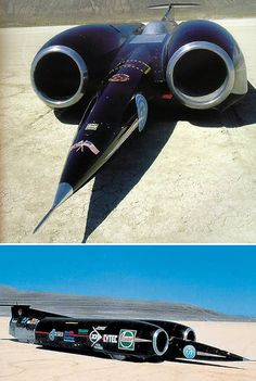 Thrust SSC: runs over 750 miles an hour    Thrust SSC (Super Sonic Car) is powered by two 25,000 lb thrust Rolls Royce 205 Turbojet engines. This gives it a total power similar to 145 Formula 1 cars. Thrust SSC weighs 10 tones and recorded a maximum speed of 766 mph in the Black Rock desert Nevada, USA on October 15, 1997.