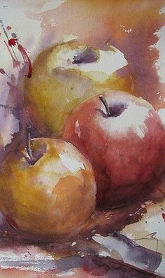 Pommes by Catherine Rey - Like the colors and shades of this watercolor! Watercolor Fruit, Fruit Painting, Watercolor Artists, Watercolour Painting, Watercolor Flowers, Watercolors, Watercolor Wallpaper, Watercolor Portraits, Watercolor Landscape