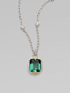 Judith Ripka, Green Quartz, White Sapphire & Sterling Silver Cushion Necklace