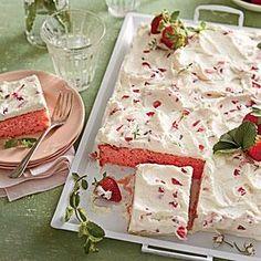 Strawberries-and-Cream Sheet Cake Recipe   MyRecipes.com