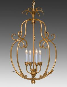 LOVE the pumpkin shape for a foyer chandelier - Style#LCFI-69-Metal floral and leaf cage design four light chandelier. Shown in standard antiqued gold metal leaf finish.