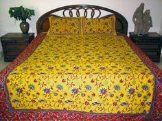 3pc Indian Bedding Yellow Red Floral Print Cotton King Throw India Bedding Set by Mogul Interior, http://www.amazon.com/gp/product/B0098X1RGQ/ref=cm_sw_r_pi_alp_54uuqb05TQRTA