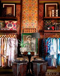 Although this is a shop in the medina, I'd copy the look to make a colorful closet! I'd start the day feeling happy when dressing here. ELLE DECOR Goes to Marrakech