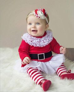 Hot New Baby Girls Christmas Costumes Casual Toddler Long Sleeves Print Father Christmas Stripe Drees