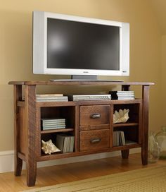 Rustic Wooden Entertainment Console: TV Stands at L.L.Bean $650 use code Nov10 to save 10%