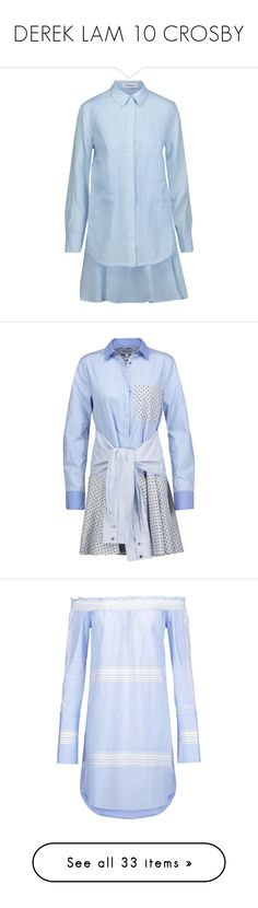 """DEREK LAM 10 CROSBY"" by jckyleeah ❤ liked on Polyvore featuring dereklam, dresses, sky blue, blue mini dress, pale blue dress, pleated mini dress, short blue dress, blue pleated dress, flouncy dress and t-shirt dresses"